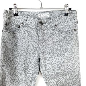 Free People | Gray Lace Print Zip Ankle Pants